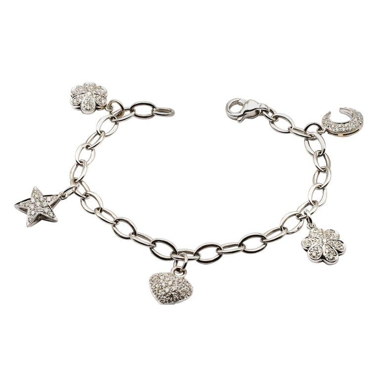 Diamond White Gold Charms Bracelet, Made in Italy For Sale