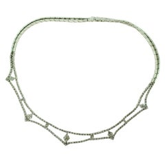 Diamond White Gold Choker Evening Necklace, 8.6 Carat
