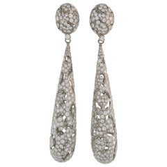 Diamond White Gold Dangle Earrings Day and Night