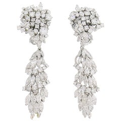 Diamond White Gold Earrings Interchangeable Day and Night