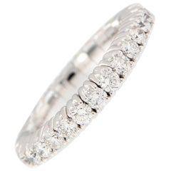 18 Karat White Gold Diamond Stretchable Band Ring