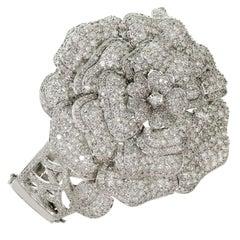 Diamond White Gold Flower Bracelet