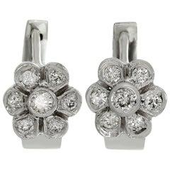 Diamond White Gold Flower Small Hoop Earrings