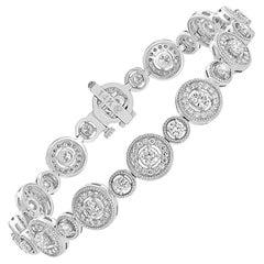 Grandeur 2.87 Carats Diamond White Gold Halo Tennis Bracelet in 14K