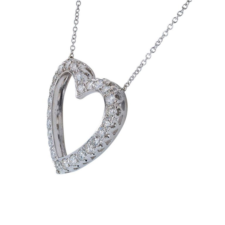 Modern Diamond White Gold Heart Shaped Pendant Necklace For Sale