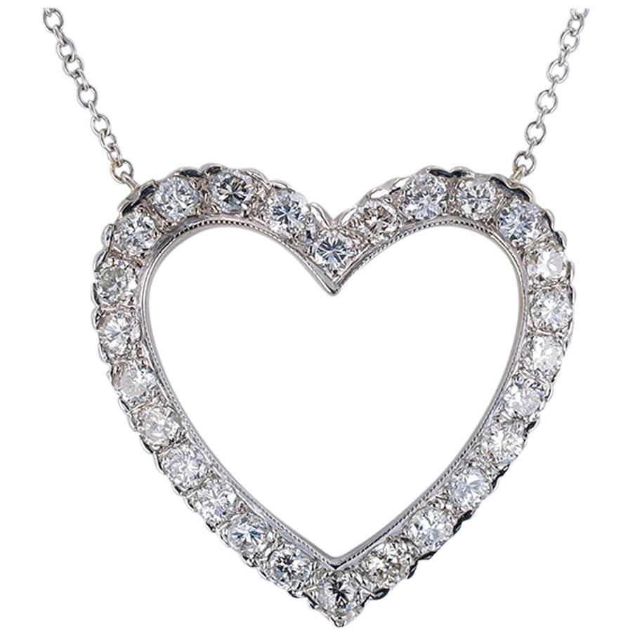 Diamond White Gold Heart Shaped Pendant Necklace