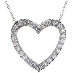 Diamond White Gold Heart Shaped Pendant Necklace