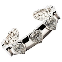 Diamond White Gold Hearts Bangle Bracelet Made in Italy