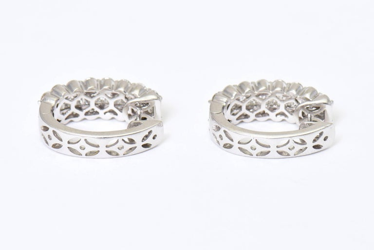 Diamond White Gold Hoop Earrings With Round And Baguette