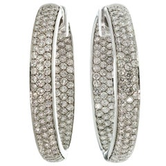 Diamond White Gold Inside Out Hoop Earrings