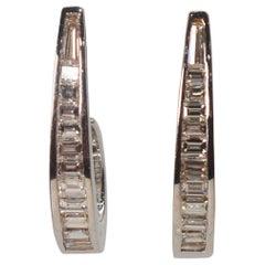 Diamond White Gold J Hoop Earrings