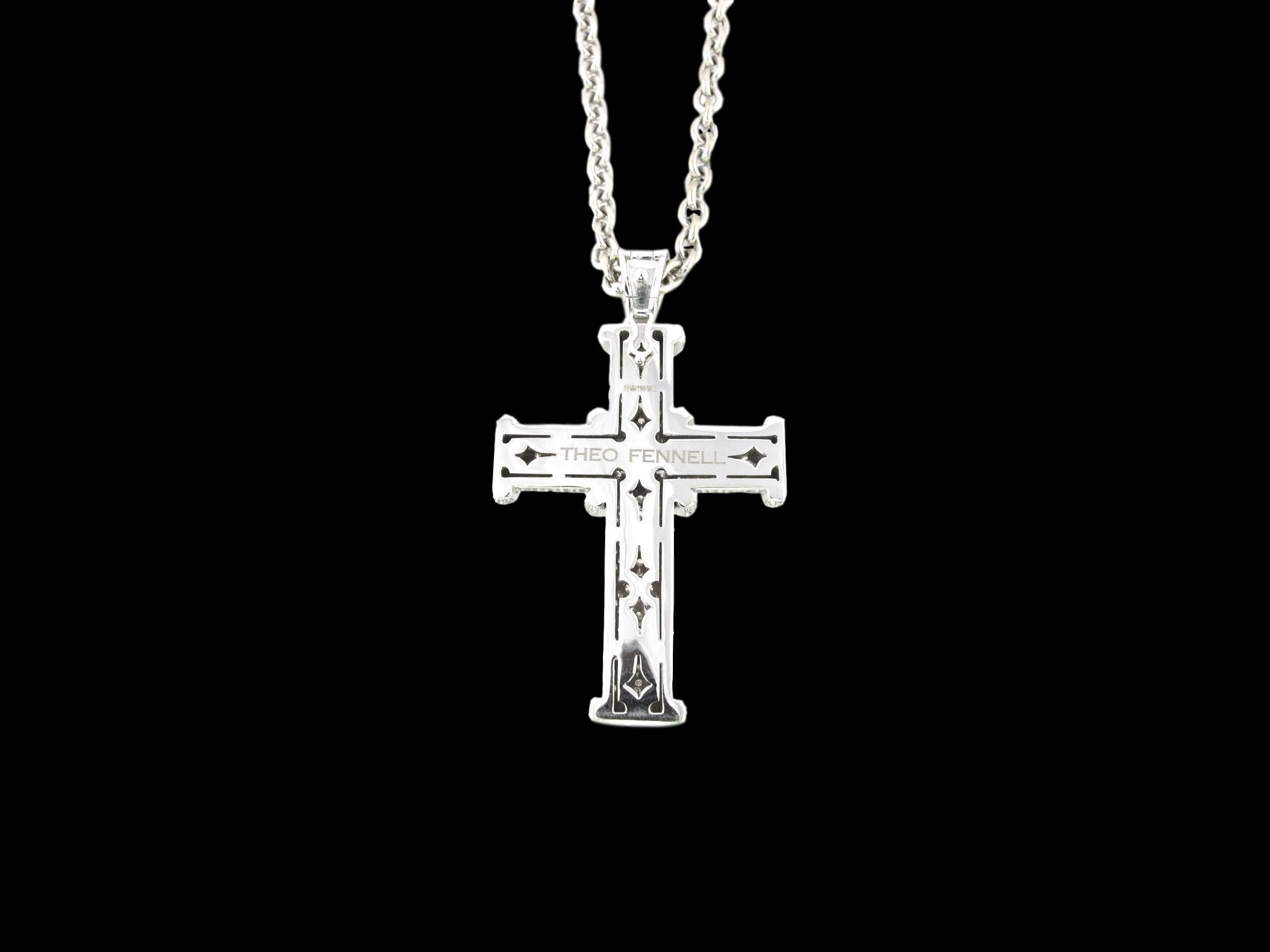 b0a28b73a2a3f0 Diamond White Gold Large Theo Fennell Cross on Long Chain Pendant For Sale  at 1stdibs