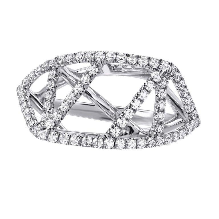 Round Cut Diamond White Gold Lattice Ring For Sale