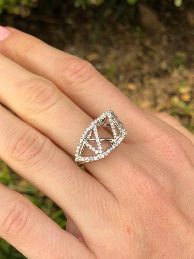 Women's Diamond White Gold Lattice Ring For Sale