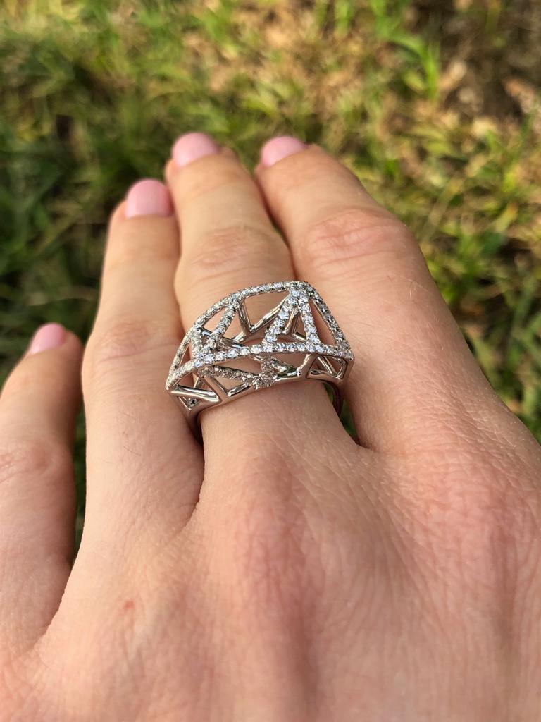 Diamond White Gold Lattice Ring For Sale 1