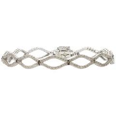 Diamond White Gold Marquise Link Bracelet