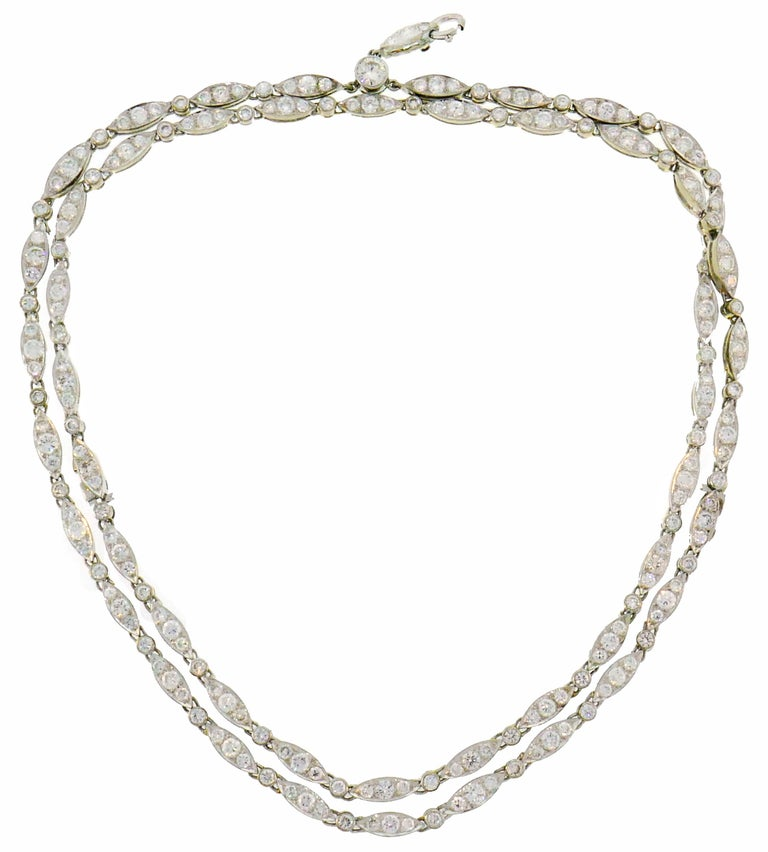 Round Cut Diamond White Gold Necklace Bracelet with Marquise Link, 1960s