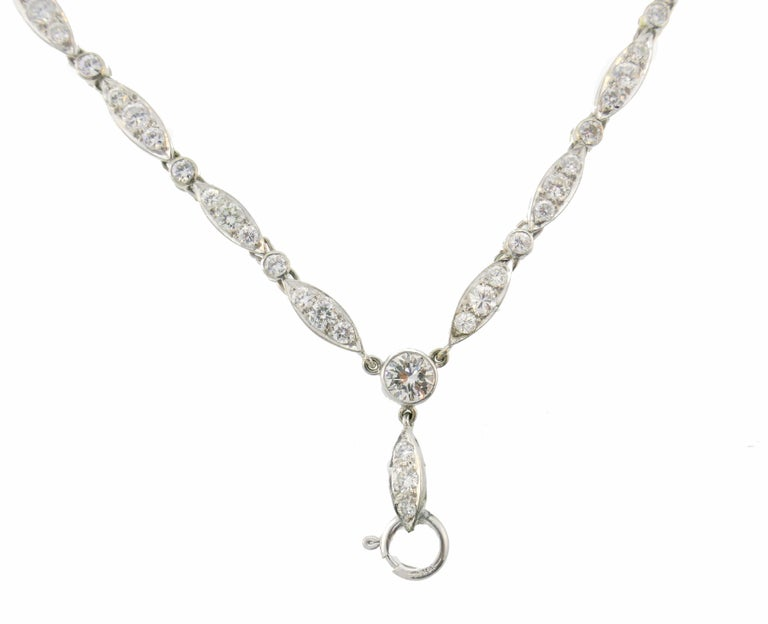 Women's Diamond White Gold Necklace Bracelet with Marquise Link, 1960s