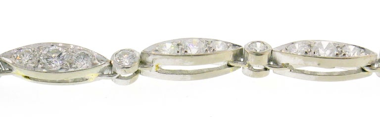 Diamond White Gold Necklace Bracelet with Marquise Link, 1960s 3