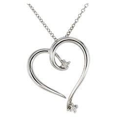 Diamond White Gold Heart Slide Pendant Necklace