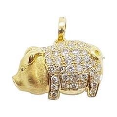 Diamond with Black Diamond Pig Brooch/Pendant Set in 18 Karat Gold Settings