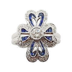 Diamond with Blue Sapphire Ring Set in 18 Karat White Gold Settings