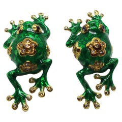 Diamond with Cabuchon Blue Sapphire Frog Earrings Set in 18 Karat Gold Settings