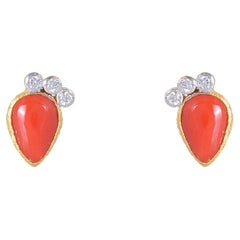 Diamond with Coral Gold Earring