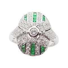 Diamond with Emerald Ring Set in 18 Karat White Gold Settings