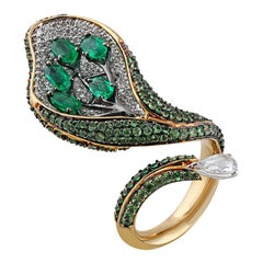 Studio Rêves Diamond with Emeralds and Tsavorites Cocktail Ring in 18 Karat Gold