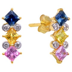 Diamond with Multi Sapphire Gold Earring