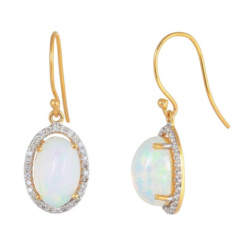 Diamond with opal gold 18k  earring