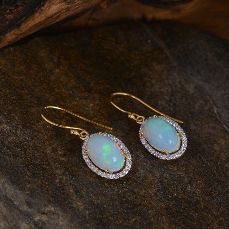 Women's Diamond with Opal Gold Earring For Sale