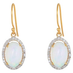 Diamond with Opal Gold Earring