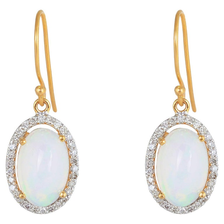 Diamond with Opal Gold Earring For Sale