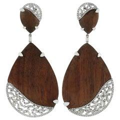 Diamond Wood 18 Karat Gold Earrings