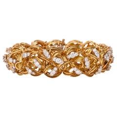 Diamond Woven Gold Bracelet