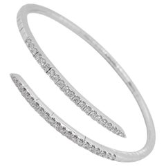 Diamond Wrap Bracelet 14k Gold Split Bypass Bangle, Gabriel & Co. BG4227-65W45JJ