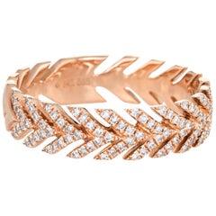 Diamond Wreath Band Estate 14 Karat Rose Gold Fine Jewelry Stacking Stacker