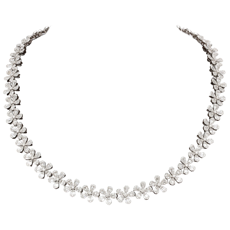 Diamond Wreath Flower Necklace