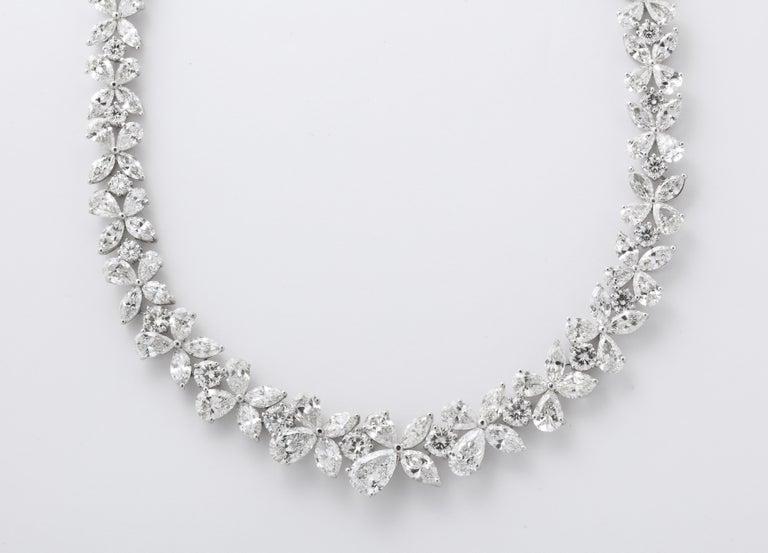 Pear Cut Diamond Wreath Necklace For Sale