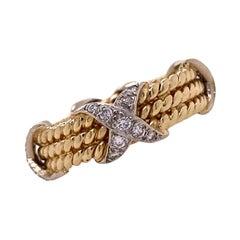 Diamond X Band Ring 14 Karat Two Tone Gold