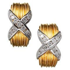 "Diamond ""X"" Hoop Earrings"