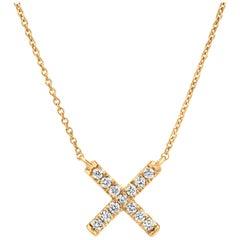 Diamond X Pendant Necklace in 18k Yellow Gold