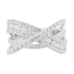 Diamond X Ring 14 Karat White Gold Criss Cross Band, Fashion X Ring, Galaxy Ring