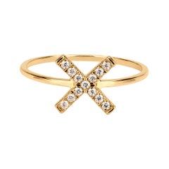 Diamond X Ring in 18k Yellow Gold