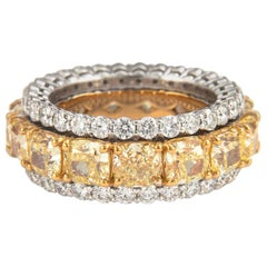 9.69ct Diamond and Yellow Diamond Stacked Eternity Band 18 Karat Yellow and Gold