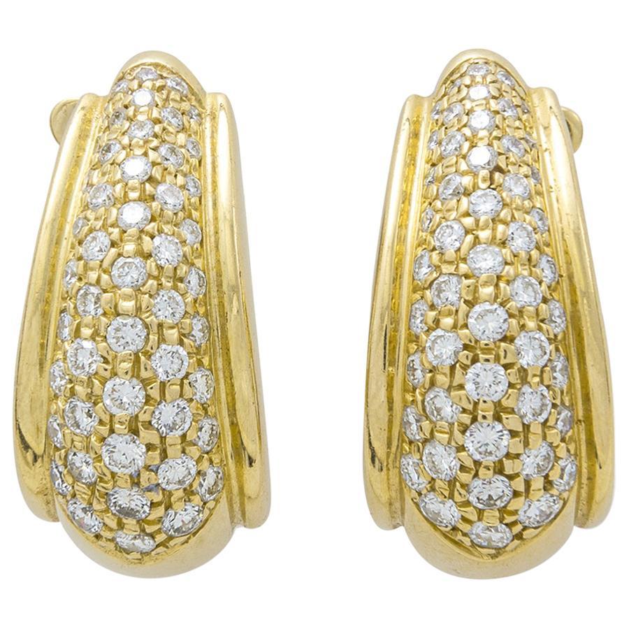 Diamond Yellow Gold 18 Karat Earrings Earclips