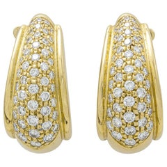 Diamond Yellow Gold 18 Karat Earrings Earclips