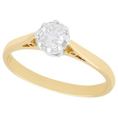 Diamond Yellow Gold and Platinum Set Solitaire Engagement Ring